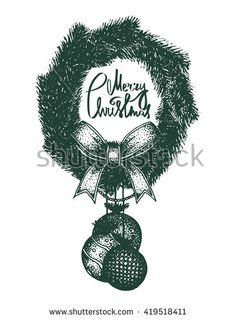 Green Isolated Vector Vintage Christmas Decoration, Vintage Christmas Wreath…