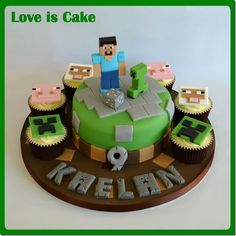 Minecraft Cupcakes ... except make them square and put them on a 3-tiered cupcake stand :D (!!)