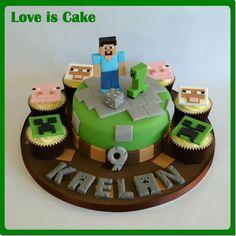 9th birthday, geek art, cupcake birthday, minecraft cake, 8th birthday, cupcake cakes, themed cakes, party cakes, birthday cakes