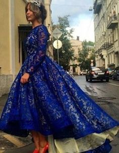 Vintage Jewel Neck Full Lace Spliced Long Sleeve Dress For Women blue Hijab hijab underscarf Royal Blue Homecoming Dresses, Blue Evening Dresses, Evening Gowns, Vestidos Royal Blue, Marine Uniform, Ball Gown Dresses, Prom Dresses, Lace Dresses, Dress Lace