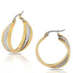 Edforce Stainless Steel Two-Tone Womens Multi-Bangle Interlocking Hoop Earrings Jewelry Shop, Fashion Jewelry, Jewelry Design, Stainless Steel Jewelry, Designer Earrings, Bangles, Hoop Earrings, Rose Gold, Silver