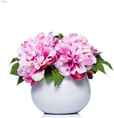 A premier online destination of luxury fabrics, wallpapers and furnishings from designers and to-the trade brands. Faux Flower Arrangements, Pink Peonies, Peony, Faux Flowers, Table Settings, Vase, Wallpaper, Floral Decorations, White Bowl