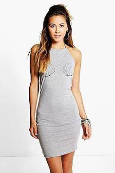 Mia Shell Printed Halter Neck Bodycon Dress