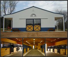 Here is another Outside/Inside barn! The blue powder coat and pine wood are a great combination! what colors would you have in your barn? Barn Stalls, Horse Stalls, Horse Barns, Dream Stables, Dream Barn, Farm Animals Pictures, Small Barns, Classic Equine, Barn Renovation