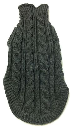 Classic Aran Knit Dog Sweater in Charcoal by lynndalou on Etsy
