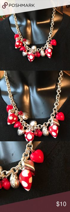 """Valentines Day surprise cute 8"""" necklace This Valentines Day surprise a cute 8"""" necklace just for your special love when February 14 rolls around.Not expensive, just unusual and just for her.  Red ♥️ hearts on a gold chain.  Too cute. Proceeds from this closet support Project Hope a ministry to homeless single moms and their children. Jewelry Necklaces"""