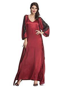Clovia Satin Nightwear Set Of Long Nighty Robe In Maroon     To view further c320bbb6a