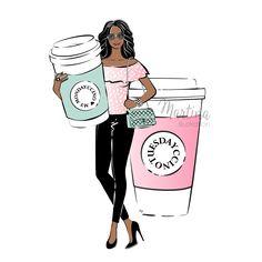 monday coffee girl black skin illustration
