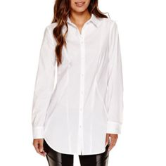 jcp | Worthington® Long-Sleeve Boyfriend Button-Front Oxford Shirt