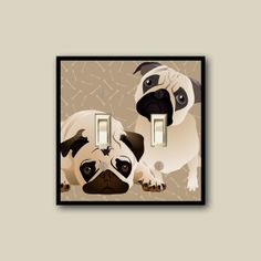 cute pug wall decor pug dog switch plate cover dog by WallCakes, $20.00