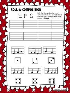 ROLL-A-COMPOSITION - RECORDER COMPOSITION  This product is a fun and engaging way to review pitches and rhythms. Students roll a dice to choose cells to compose their own piece of music. Perfect for elementary and primary students for use as a classroom activities or during music center rotations.