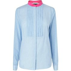 Jaeger Pleat Bib Blouse, Blue found on Polyvore | #WinterSummer #CoolWinter #style #dramatic #classic