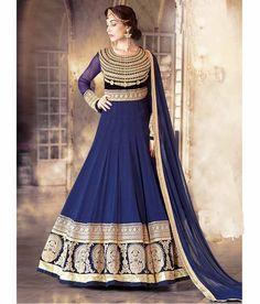 Naksh - Fabulous Blue Colour Pure Georgette Anarkali Suit With Viscose Dupatta
