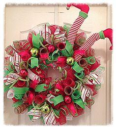 ELF Chritmas Deco Mesh Wreath/Christmas Elf Wreath/Red, White and Lime Elf Wreath/Christmas Wreath/Elf Wreath/Santas Helper Wreath