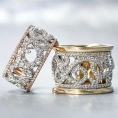 14k Rose, Yellow, and White Gold Fancy Anniversary Bands - Gabriel & Co.