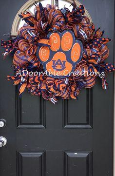 Auburn Wreath Auburn Tiger Deco Mesh Wreath by ADoorAbleCreationz