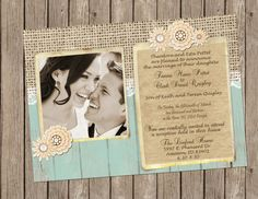 Rustic Wedding Invitation burlap lace by MissBlissInvitations, $15.00