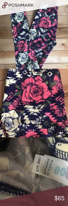 UNICORN Lularoe Pink, Navy & Cream Rose OS legging UNICORN Lularoe Pink, Navy & Cream Rose OS leggings.   Brand New never worn.   Bundle for additional discounts or make me an offer LuLaRoe Pants Leggings