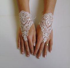 Very pale beige plum Lace glove free ship wedding by GlovesbyJ