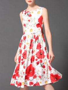 04d46bd3f7d Buy Multicolor Round Neck Sleeveless Print Dress Dress Brands