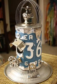 license plate repurposed metal birdhouses by gadgetsponge com, crafts, repurposing upcycling, Cornflower Blue License Plate Silverplate Lantern Repurposed Upcycled Metal Birdhouse