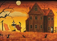 halloweenpictures: Folk Art Halloween Card Witch Hanging Her by RavensBendFolkArt