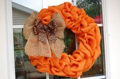 Orange Burlap Fall Wreath by SimplyBloomingDesign on Etsy, $29.95