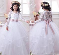 Long Sleeves Flower Girl Dresses For Weddings Jewel Tutu Ribbon Sash First Communion Kids Formal Wear Zipper Layers Girl Pageant Dress (371661865)