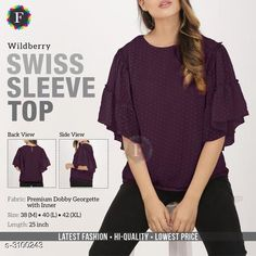 Checkout this latest Tops & Tunics Product Name: *Swiss Sleeve Top* Fabric: Georgette Sleeve Length: Three-Quarter Sleeves Pattern: Solid Multipack: 1 Sizes: M, L, XL Country of Origin: India Easy Returns Available In Case Of Any Issue   Catalog Rating: ★4 (304)  Catalog Name: Swiss Sleeve Top CatalogID_425024 C79-SC1020 Code: 524-3100243-5901