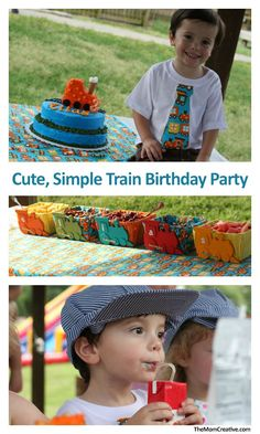 A cute, simple train birthday party for a little boy.