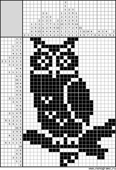 Cross stitch chart, an owl Easy Cross Stitch Patterns, Simple Cross Stitch, Cross Stitch Bird, Cross Stitch Animals, Cross Stitch Charts, Cross Stitching, Cross Stitch Embroidery, Owl Knitting Pattern, Owl Crochet Patterns