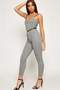 fbbe1d8868 Simran Strappy Checked Belted Sweetheart Jumpsuit