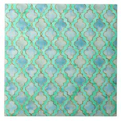 Aqua gold and Green Maroccan pattern Large Square Tile