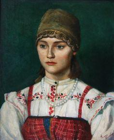 """Girl in Russian Peasant Costume"" by Philip Moskvitin, 1993. #art"