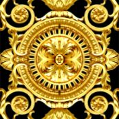 filigree baroque rococo black gold flowers floral leaves leaf ivy vines acanthus Versace inspired Victorian by raveneve