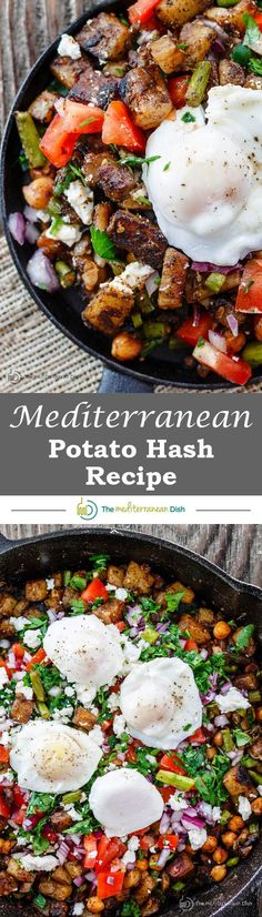 Mediterranean Potato Hash Recipe | The Mediterranean Dish. An easy breakfast hash with potatoes, chickpeas, asparagus, tomatoes and Mediterranean spices and fresh herbs. Comes together in less than 30 mins. See the step-by-step today on The Mediterranean Dish. #VegetableDetoxDiet