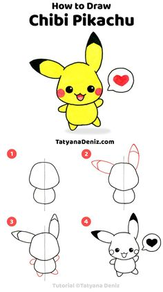 Learn to draw chibi Pikachu step by step with this cute and easy drawing tutorial. Learn to draw chibi Pikachu step by step with this cute and easy drawing tutorial. Easy Pencil Drawings, Easy Doodles Drawings, Easy Doodle Art, Cute Cartoon Drawings, Cute Kawaii Drawings, Kawaii Doodles, Kid Drawings, Mermaid Drawings, Sketchbook Drawings