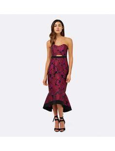 Monique Fishtail Jacquard Dress Red - Womens Fashion   Forever New