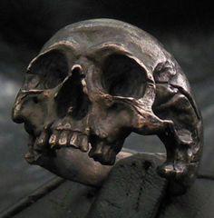 Sterling silver mens ring skull ring biker masonic rock handmade jewelry 925
