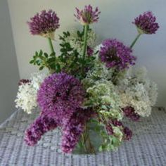 Purple and white Lilacs and allium, beautiful!!