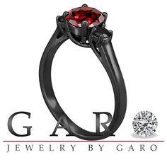 Red Garnet & Fancy Black Diamond Three Stone by JewelryByGaro