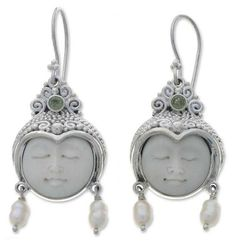 Pearl & peridot dangle earrings, 'Day Dreamers'. Purchase funds 3 books for children.