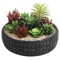 30 Impressive DIY Tire Planters Ideas for Your Garden To Amaze Everyone Tire Garden, Garden Yard Ideas, Garden Crafts, Diy Garden Decor, Garden Projects, Garden Pots, Fun Projects, Tire Planters, Flower Planters