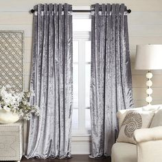 Metallic Velvet Curtain - Silver Curtains Behind Bed, Ikea Curtains, Home Curtains, Rustic Curtains, Country Curtains, Curtains Living, French Curtains, Patio Curtains, Luxury Curtains