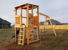 Feature-Packed Fort and Swingset - Natural State Treehouses Backyard Swing Sets, Backyard For Kids, Backyard Playset, Backyard Ideas, Kids Indoor Playground, Outdoor Play Areas, Play Houses, Tree Houses, Exterior
