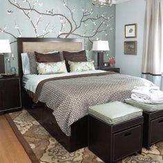 Bedroom Ideas Earthy mirror. blue throw w gray bedding. | house decor <3 | pinterest