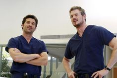 McDreamy and McSteamy Derek Shepherd and Mark Sloan Patrick Dempsey and Eric Dane. Cuz who wouldn't want them as their doctors? Greys Anatomy Derek, Grey's Anatomy Mark, Greys Anatomy Season 1, Greys Anatomy Facts, Grays Anatomy, Mark Sloan, Derek Shepherd, Sullivan Patrick Dempsey, Addison Montgomery