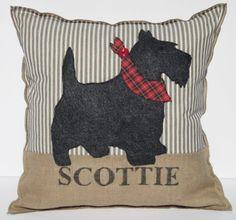TARTAN SCOTTIE Dog Pillow, Appliqued Ticking Dog Pillow, Hessian