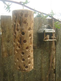 Maple Log Woodpecker Suet Feeder 2
