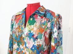 Vintage-Oil-on-Water-Print-Crepe-Blouse-Size-SM-MED-Long-Sleeve-Open-Neck